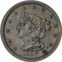 1857 Braided Hair 1/2¢. C-1. Rarity-2. MS-62 BN PCGS.