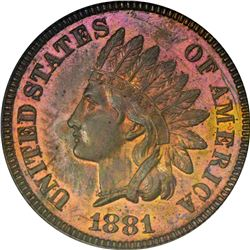 1881 Indian 1¢. Proof-64 RB NGC.