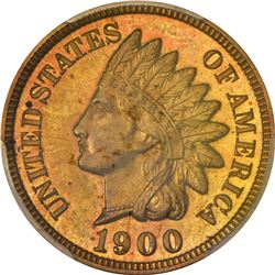 1900 Indian 1¢. Proof-64 RB PCGS. CAC.