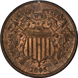 1865 Shield 2¢. MS-64 RB PCGS. OGH.