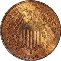 Mint Error. 1864 Two-Cents. 120 Degree Counter-Clockwise Rotated Reverse. MS-65 RB PCGS.
