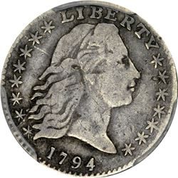 1794 Flowing Hair H10¢. LM-4, V-4, 4-A. Rarity-4. Genuine - Planchet Flaw - Fine Details PCGS.