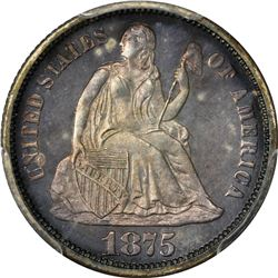 1875 Seated Liberty 10¢. Proof-66 PCGS.