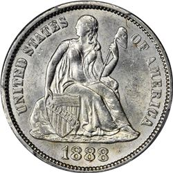 1888 Seated Liberty 10¢. MS-62 PCGS.