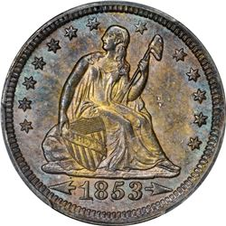 1853 Seated Liberty 25¢ Arrows and Rays. MS-63 PCGS.