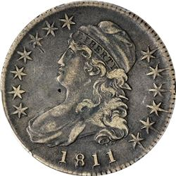 1811 Capped Bust 50¢. O-111. Small 8. Rarity-1. Genuine - Damage - Fine Details PCGS.