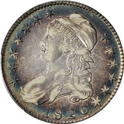 1820 Capped Bust 50¢. O-105. Large Date, Square Based, Knob 2. Rarity-1. EF-40 PCGS.