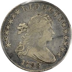 1798 Heraldic or Large Eagle $1. B-13, BB-108. Pointed 9. Rarity-3. Fine-15 PCGS.