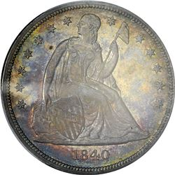 Toned Mint State + 1840 Silver $1. 1840 Seated Liberty $1. MS-62+ PCGS. CAC.
