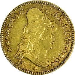 AU Details 1804 $5. 1804 Gold $5. BD-2. Rarity-4+. Normal or Small 8. Genuine - Cleaned - AU Details