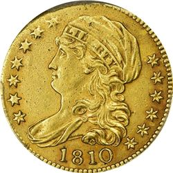 EF Details 1810 Half Eagle. 1810 Gold $5. Large Date, Large 5. BD-4. Rarity-2. Genuine - Ex Jewelry