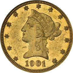 Circulated Proof 1901 Eagle. 1901 Gold $10. Proof-55 PCGS.