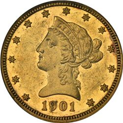 A Second Circulated Proof 1901 Eagle. 1901 Gold $10. Proof-55 PCGS.