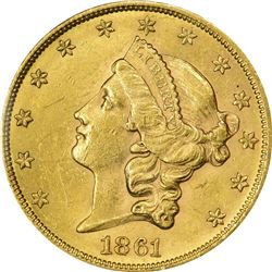 Lustrous Mint State 1861 $20. 1861 Gold $20. MS-61 PCGS.
