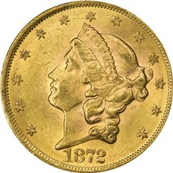 Mint State 1872 Double Eagle. 1872 Gold $20. MS-62 PCGS. CAC.