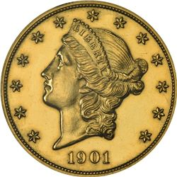 Impaired Proof 1901 Double Eagle. 1901 Gold $20. Proof-60 Details, Polished. ANACS.