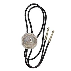 Bolo Tie. 1925 Norse American Medal. Thick. In Sterling Setting. Braided Leather Bolo Strings. Overa