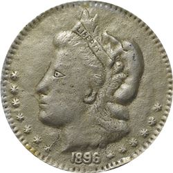 1896 Bryan Money. 16 to 1 – NIT. Zerbe 74 Variant, No Bronze Wash. Lead. 86 mm. Overall VF for sharp