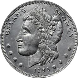 1896 Bryan Money. 16 to 1 – NIT. Zerbe 90. Lead or Type Metal. 88 mm. Overall AU to Uncirculated.