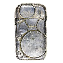 Spectacular Marked Gorham Sterling Silver Match Case Embedded Liberty Seated Coins. Circa 1877 Match