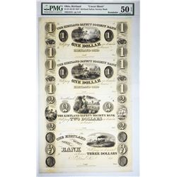 Finer of Just Two Certified Uncut Kirtland Safety Society Banknote. $1-1-2-3 Utah, Kirtland Safety S