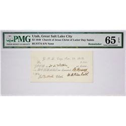 Single Finest PMG Certified $2 1849 Valley Note. $2.00 Great Salt Lake City, Utah. White Note. Nyhol