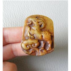 Antique Jade Hand Carved Sheep Pendant
