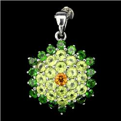 Natural Citrine Chrome Diopside Peridot Pendant