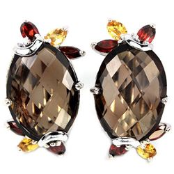 NATURAL SMOKY QUARTZ GARNET  CITRINE Earrings