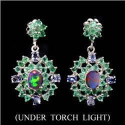 Natural White Opal Emerald Tanzanite 57 Cts  Earrings