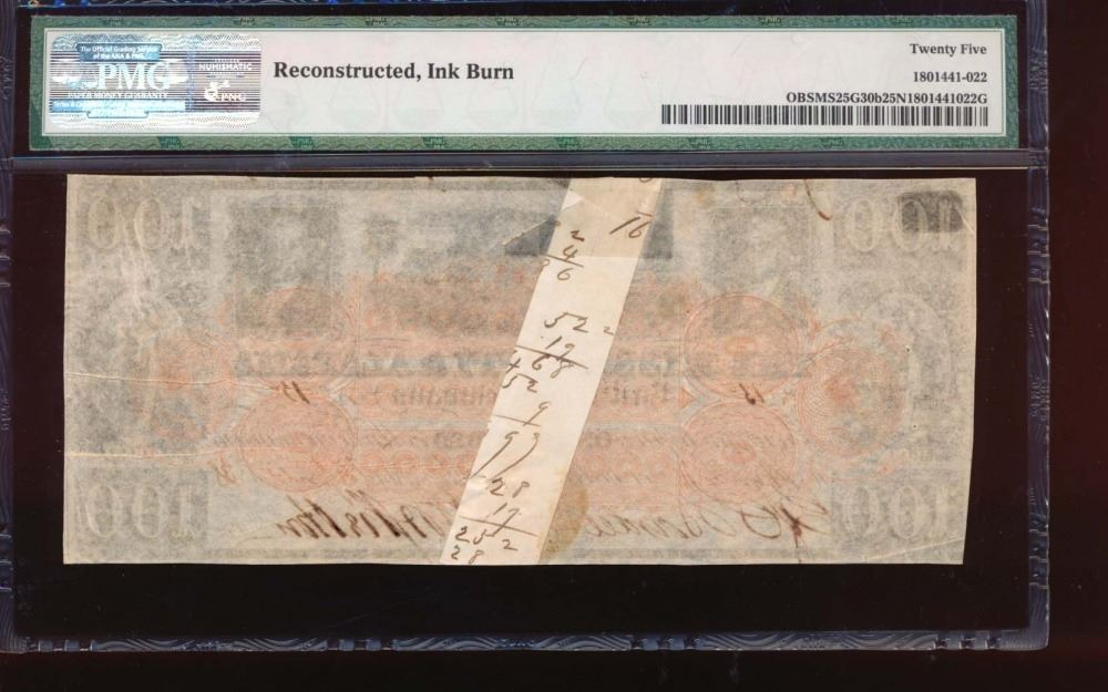 1838 100 Mississippi And Alabama Rail Road Co Obsolete Note Pmg 25net