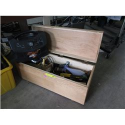 Wooden Toolbox & Contents & Powerbox