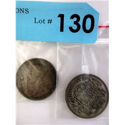 Two 80% Silver 50¢ Canadian King George Pieces