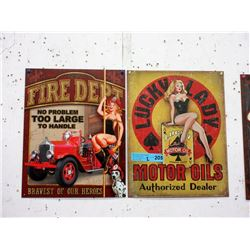 Pair of New Tin Signs with Vintage Images