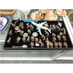 Tray of Assorted Metal Collectibles