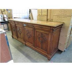 Large Antique Oak Side Board with Carved Doors