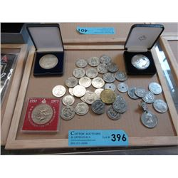 Tray of Collectible Tokens and Medallions