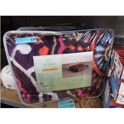 2 New Queen Size Purple Sherpa Blankets