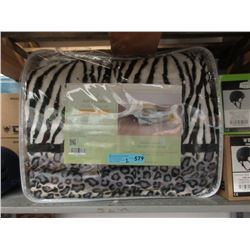 2 New Queen Size Animal Stripe Sherpa Blankets