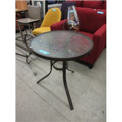 Tempered Glass Top Patio Side Table - Metal Frame