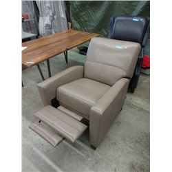 New Amax Grey Leather Push Back Recliner