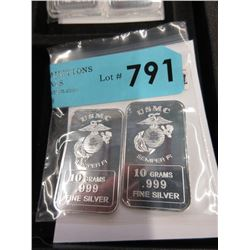 Two .999 Fine Silver 10 Gram  USMC  Art Bars