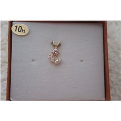 10 KT YELLOW GOLD CZ FLORAL PENDANT (0.42 CTS)