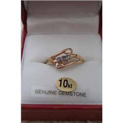 10 KT YELLOW GOLD GENUINE TANZANITE & SAPPHIRE RING