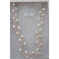 BASE METAL GENUINE FRESHWATER PEARL NECKLACE