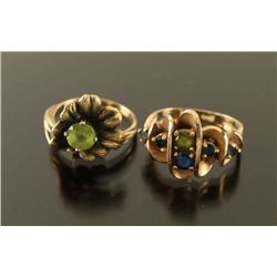 Lot of 2 Gold and Gemstone Rings