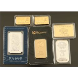Lot of Silver & Gold Clad Bars