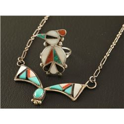 Sterling Silver Inlaid Necklace & Ring