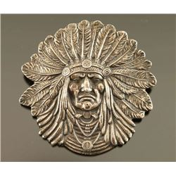 Sterling Indian Chief Brooch