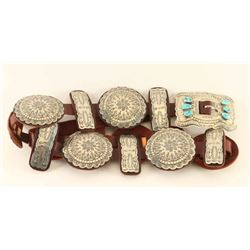 Sleeping Beauty Turquoise & Silver Concho Belt